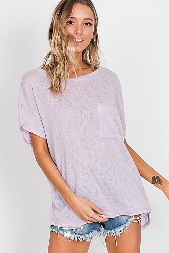 OPEN BACK DETAIL SHORT SLEEVE TOP WITH POCKET,