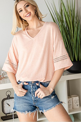 BOHEMIAN LACED HALFSLEEVE V NECK TOP