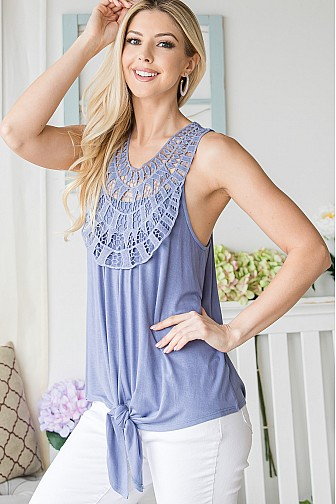 CROCHET TANK TOP WITH TIE