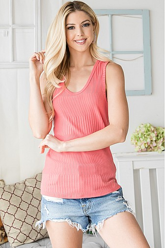 VERTICAL RIBBED TANK TOP