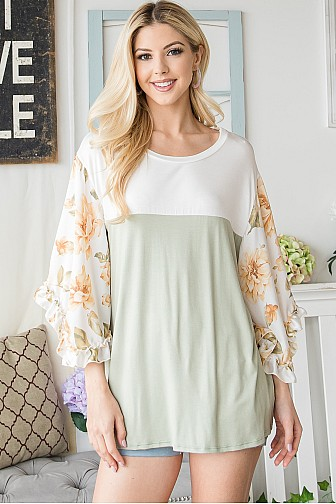 FLORAL COLOR BLOCK HALFSLEEVE TOP