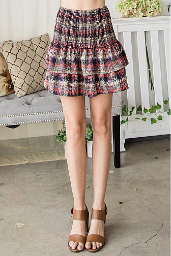 PLAID ELASTIC MINI SKIRT